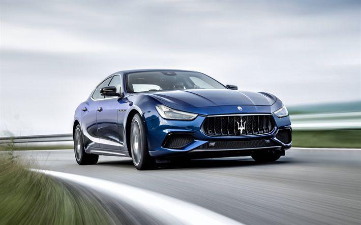 Download wallpapers Maserati Ghibli, GranSport, 2018, front view, blue sedan, new Ghibli, racing track, Italian sedan, Maserati