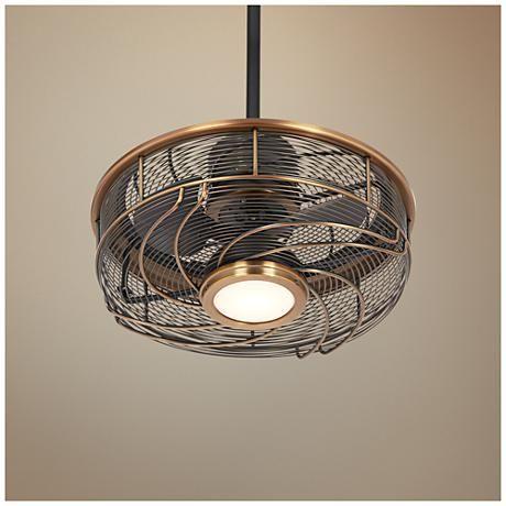 "17"" Casa Vestige Imperial Brass Cage LED Ceiling Fan ..."