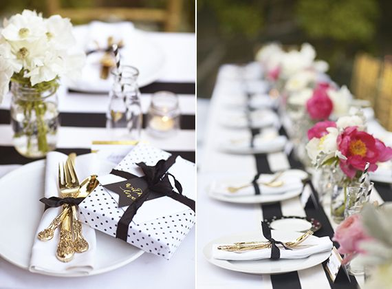 Polka dots, stripes and gold. so  so lovely!