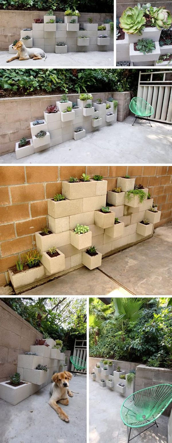 Concrete or cement blocks can be repurposed in numerous ways to create a lot of interesting things such as benches, media units, planters and even beds. We