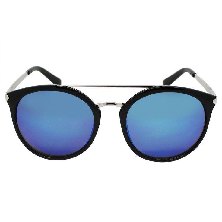 Women's Aviator Sunglasses - Black with Blue Lens