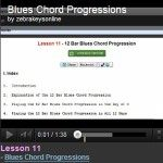 Piano Lesson 11 - Blues Chord Progressions http://www.zebrakeys.com/lessons/beginner/chords/?id=11 - Learn the chords which are used in the 12 bar blues chord progression. The blues have been used as a basis for many types of music such as pop and rock. Chords Progression for the 12 bar blues are: 1st four measures, or bars: I, I, I, I. 2nd four measures, or bars: IV, IV, I, I. Last four measures, or bars: V, IV, I, I.