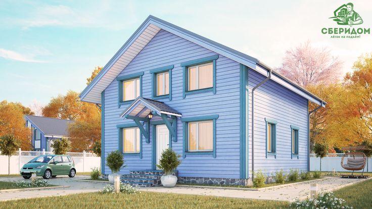 """Дом из клееного бруса, проект Комфорт 2. """"зимний"""" Дом 9x9 метров с пятью спальнями. Дом для большой семьи, рассчитан на единовременный прием до 8-10 человек. Два санузла на разных уровнях делают проживание в нем особенно комфортным.   Мы в соц. сетях:  twitter: https://twitter.com/Sberidom  facebook: https://www.facebook.com/118717895191502/  intagram: https://www.instagram.com/sberidom/  vkontakte: https://vk.com/sberidom  google+: https://plus.google.com/100999251842702597507"""