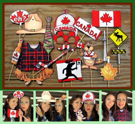 READY MADE Canada Photo Booth Props - perfect for celebrating Canada Day or Canada in style, or your Canadian forrest moose party More