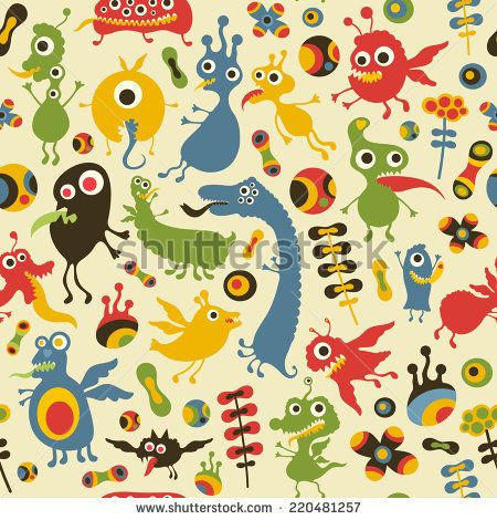 Colorful seamless pattern with happy monsters at the party. #monsters #monsterillustration #vectorpattern #patterndesign #seamlesspattern