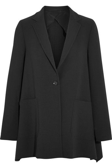 FLAWLESS BLAZER: Designed with dropped shoulders and subtle side splits, Max Mara's black blazer is a relaxed take on a perennial wardrobe staple. This Italian-made piece is tailored from comfortable wool-blend crepe that's unlined for lightness. We like it best with smart separates or denim.