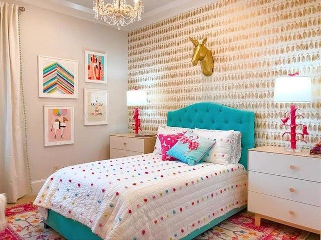 Bright Pom Pom Quilt Could Fold At End Of Bed Home Decor Home Decor Colors Girl Bedroom Designs