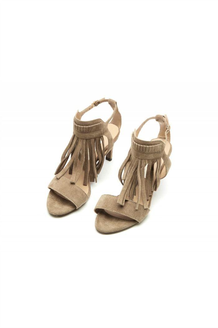 Mid heels leather sandals with fringes by L'Autre Chose. #lautrechose #fashion #sandals #shoes #fringes #ss15 #trend #70s