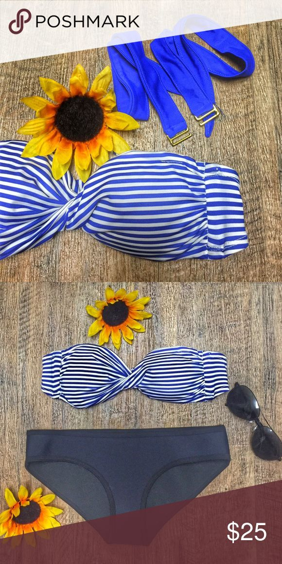 Blue and White Stripes Bandeau Bikini Top Never been worn. No tag. No flaws. In a very good condition. With removable pads and straps. ilovekoi Swim Bikinis