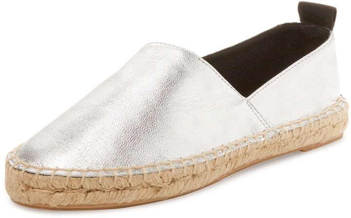 Pure Navy Women's Asymmetrical Leather Espadrille