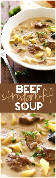 Beef Stroganoff Soup... This soup is a fabulous spin on a classic recipe. It is packed with flavor and is absolutely DELICIOUS! It is wonderful on a cold day and will quickly become a family favorite!