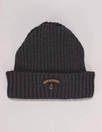 Paul & Shark Grey Logo Beanie Hat