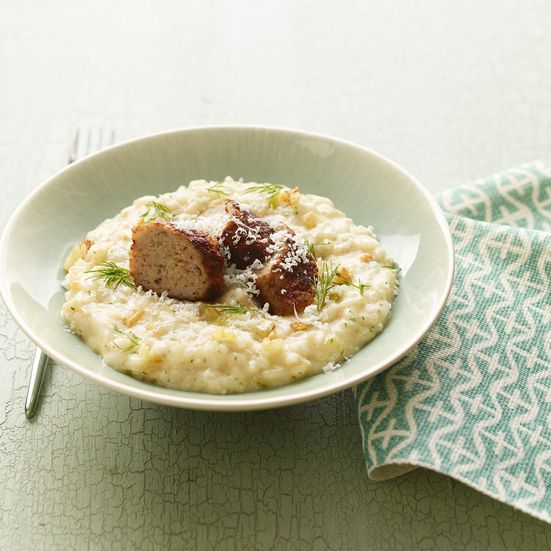 Pan-browned crispy homemade lamb-and-fennel sausage, made from ground lamb, tops this fragrant fennel risotto.