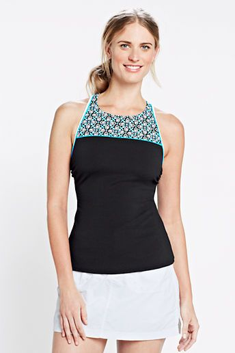 Lands' End Women's Sport Colorblock High Neck Tankini Top on shopstyle.com