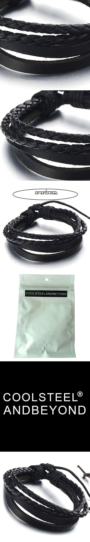 Hand-made Multi-strand Black Braided Leather Bracelet for Men Women Leather Wristband Wrap Bracelet