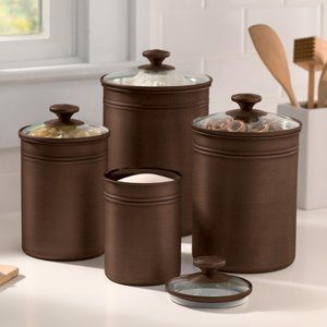 And Gardens Bronze Finished Metal Canisters With Gl Lids Set The Functional Kitchen Canister Sets Ideas