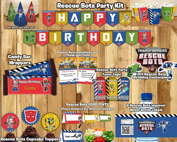Rescue Bots Birthday Party Kit Download Banner by InstaBirthday