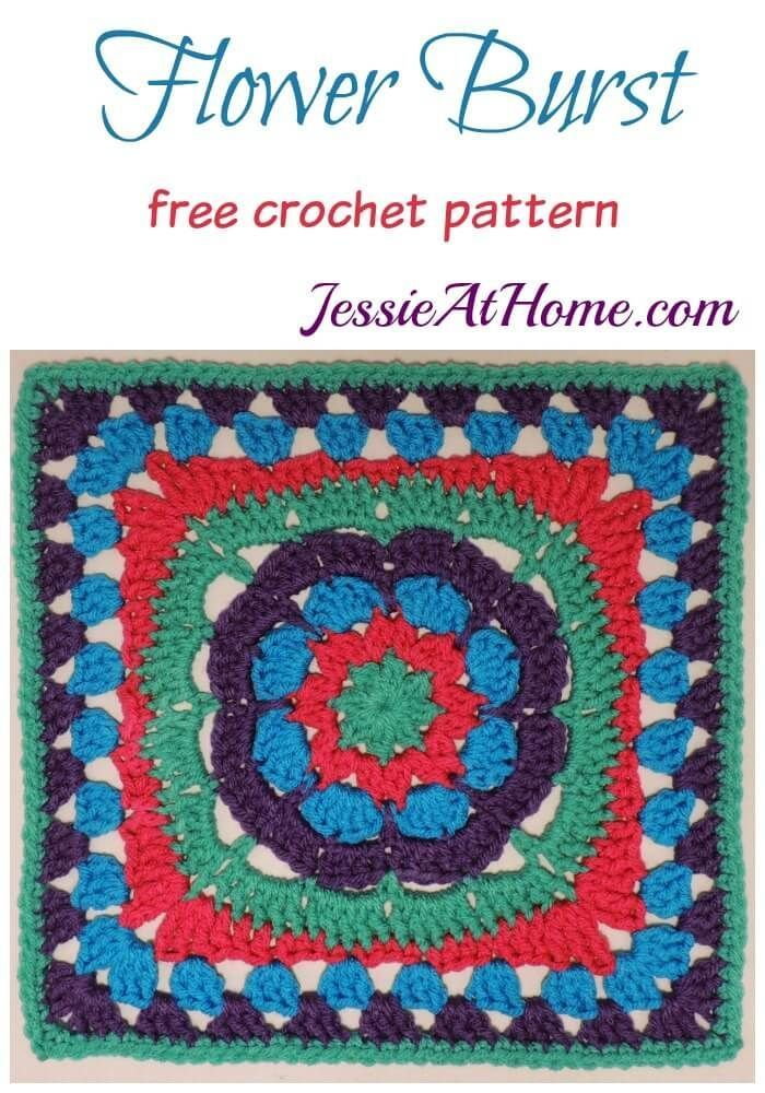 Flower Burst Free Crochet Pattern By Jessie At Home Granny Squares