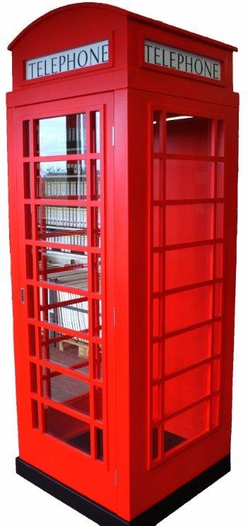 Perfect Englische Telefonzellen Nachbau der Original roten Telefonzelle aus London in vollmassiv Eiche auf http