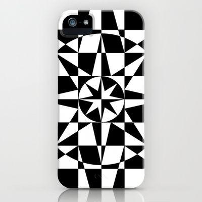 Black & White Star iPhone Case by V. Kharuzhy - $35.00