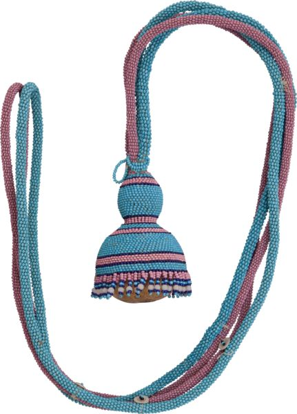 Mfengu Beadwork Pendant, this hourglass shaped gourd (the female form) is filled with seeds, a symbol of female fertility. Women hoping to have children would have worn it around their neck or over their shoulder.