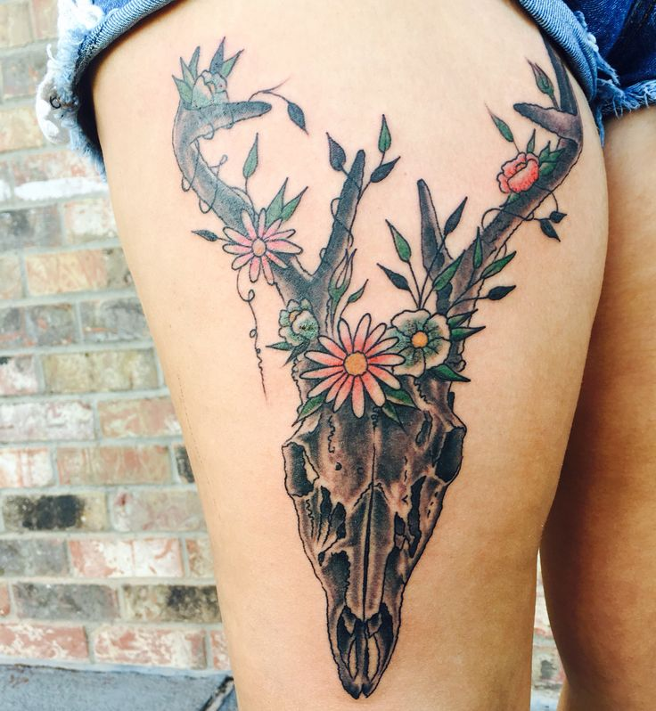 Deer skull tattoo!flowers. Southern tattoo in Texas. Hunting tattoo. Girls with guns. Wild game.