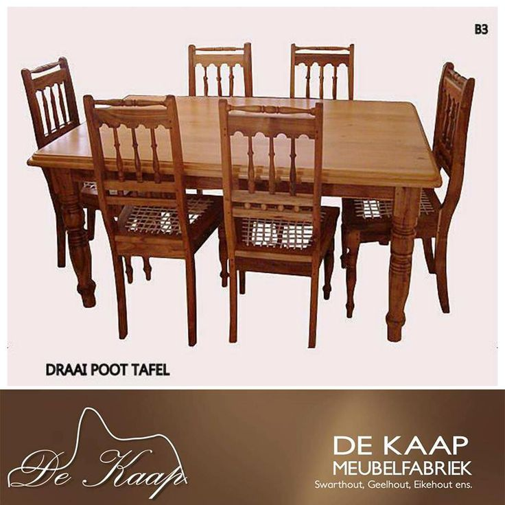 Another family favourite - our dining set with beautiful chairs * Nog 'n groot gunsteling - ons eetkamerstel met draaipote en pragstoele #diningsuite #solidwood