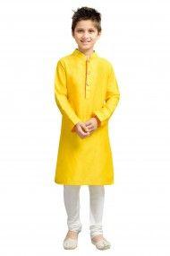 Cotton And Silk Party Wear Kurta Pyjama Set In Yellow Colour