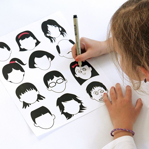 Fill in the faces - fun drawing activity for kids