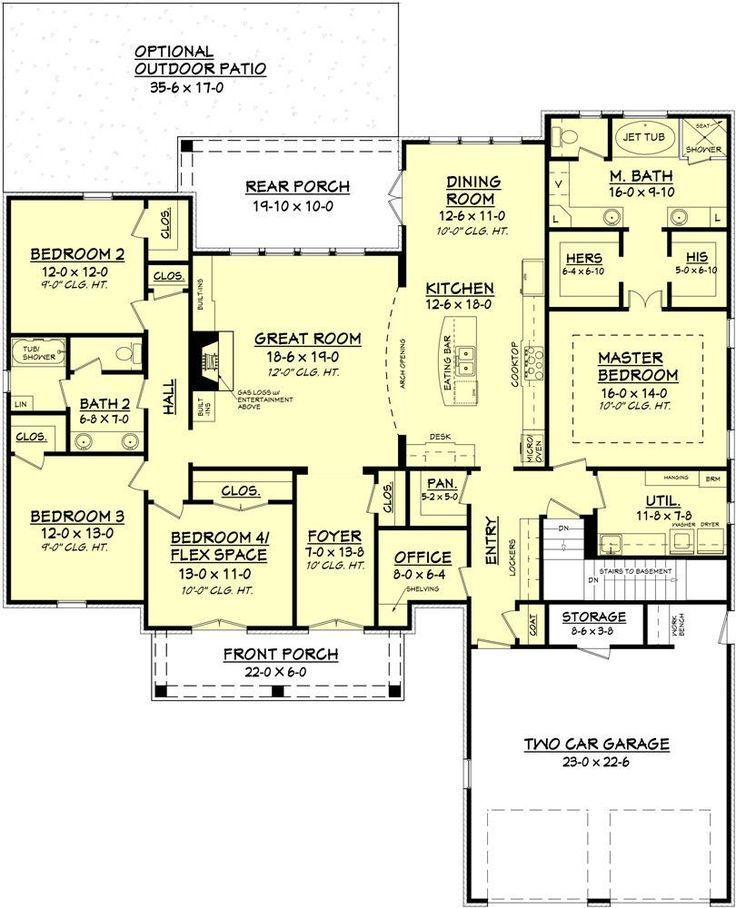 25 Best Ideas About 4 Bedroom House On Pinterest 4 Bedroom House Plans House Floor Pla Open Floor House Plans Acadian House Plans Barndominium Floor Plans