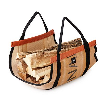 Look what I found at UncommonGoods: reclaimed fire hose log carrier... for $81.25 #uncommongoods