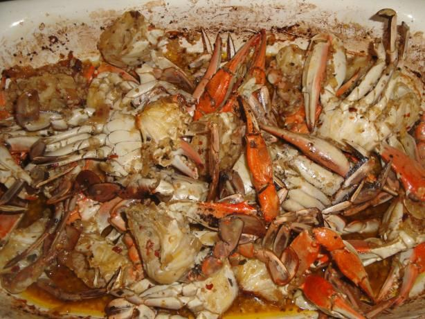Garlic Crab from Food.com:   								This is a simi difficult recipe, but the result is ever so delectable. I had something like this at Crustaceans in San Francisco. They used the wonderful Dungeness crabs, but here in Virginia I had to settle for Blue crabs, which turned out just as nice.