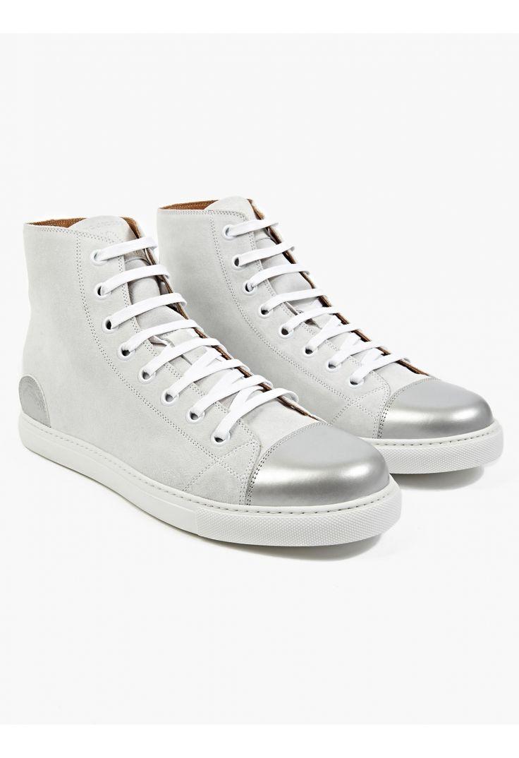 Marc Jacobs Men's Off-White Suede Hi-Top Sneakers.