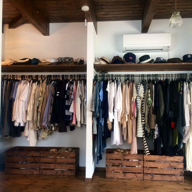 KOMAのお部屋写真 about 'Bedroom,クローゼット,収納,DIY,みせる収納,木箱,すのこ,整理収納部,すのこ DIY,'. RoomClip…