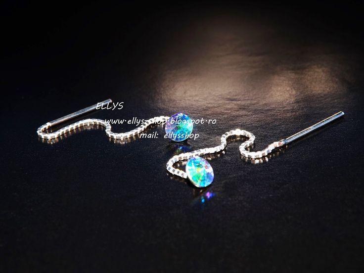 Ellys Shop: Cercei cu lantisor din argint si cristale swarovsk...