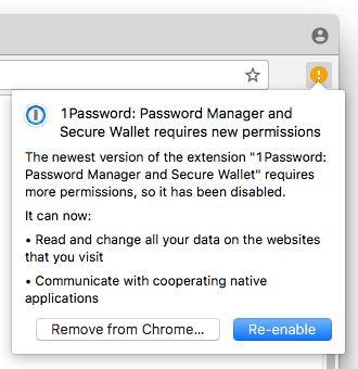 1Password requires more permissions