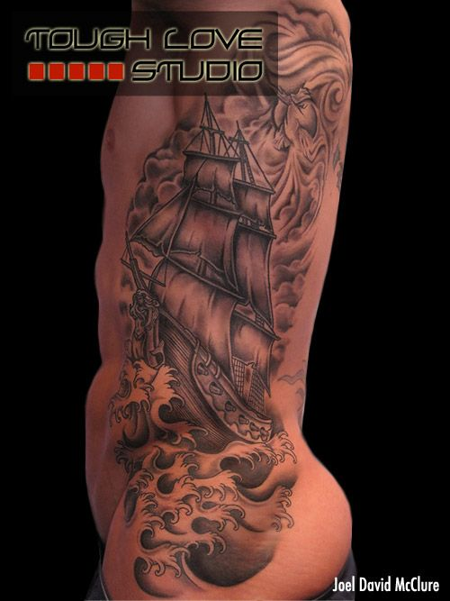 black grey ship tattoo joel david mcclure tattoos tough love studio ship tattoo ribs. Black Bedroom Furniture Sets. Home Design Ideas