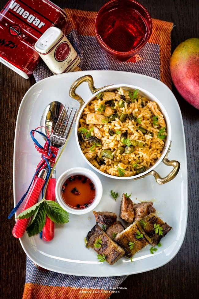 Apron and Sneakers - Cooking & Traveling in Italy and Beyond: Grilled Pork Belly with Chicken, Asparagus & Harissa Fried Rice