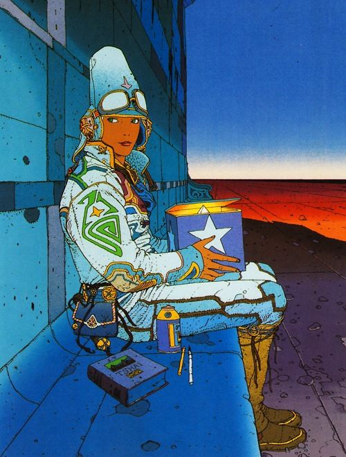 """Jean Giraud bka, Mœbius was revered for his work on projects like """"Blueberry"""" & """"The Incal,"""" he designed the """"look"""" of several generations of iconic sci-fi & fantasy movies including """"Tron,"""" """"Blade Runner,"""" & """"Alien."""" Giraud co-founded the comics art group """"Les Humanoides Associes"""" (1975), which created the magazine Métal Hurlant; known in the United States as Heavy Metal. He took on the name Mœbius as his alias."""