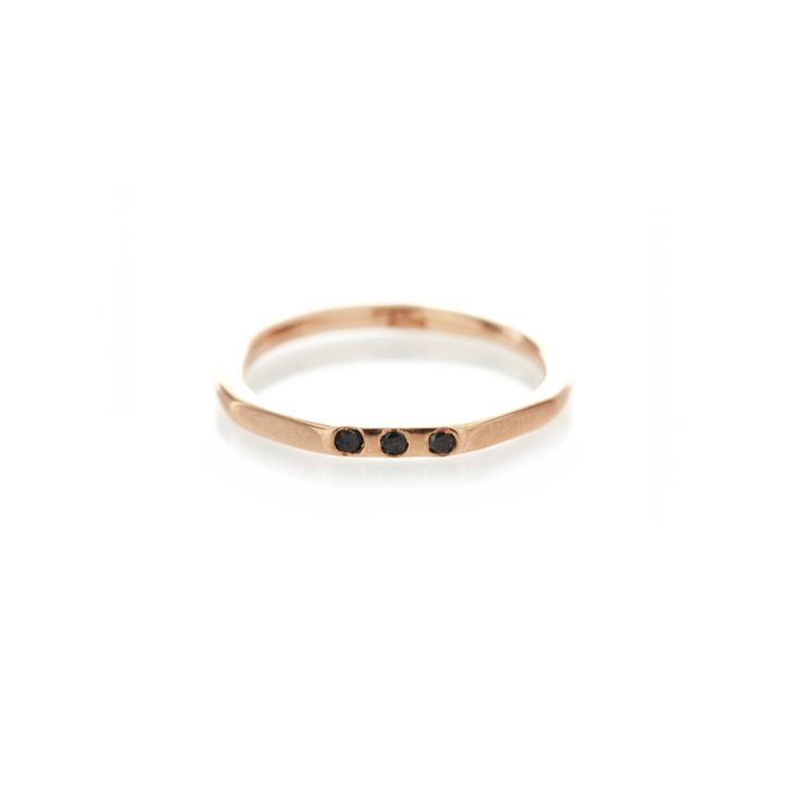 Three edge rose gold band