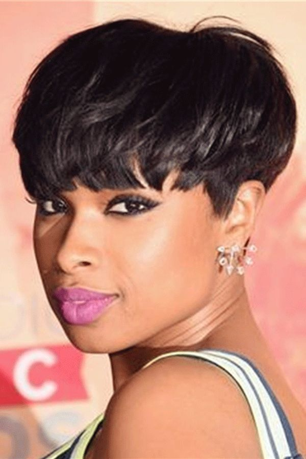 Jennifer Hudson Pixie Dark Brown Layered Celebrity Top Quality Short Natural African American Wigs Human Hair Full Lace 6 Inches Short Hair Styles Wig Hairstyles Short Wigs