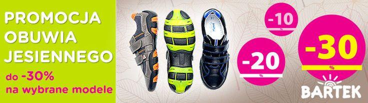 Sklepy formowe BARTEK rozpoczęły sezonową obniżkę cenową  na wybrane modele obuwia jesiennego oraz całorocznego. Okres promocji to świetna okazja na zakup półbutów, trzewików, botki na wiele okazji. Teraz można zakupić wybrane modele butów ze zniżka sięgającą nawet 30 %. Nie zwlekaj. Odwiedź Twój sklep BARTEK i skorzystaj z promocji.