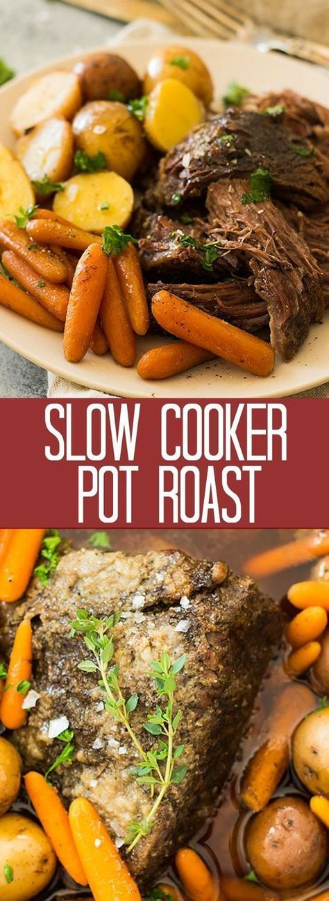 Crazy tender, melt in your mouth slow cooker pot roast with carrots and potatoes…