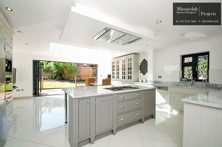 Bespoke Handmade Kitchen, the island was sprayed in Farrow & Ball Moles Breath 276 and the surrounding units in Farrow & Ball Purbeck stone 275 which provided a subtle contrast.