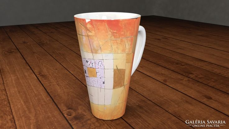 Csodás cappuccinós bögre művészi dekorral_ Orange mosaic by Ágota Horváth Collectible signed porcelaine coffee tee cup modern abstract fine art handmade painting by Ágota Horváth