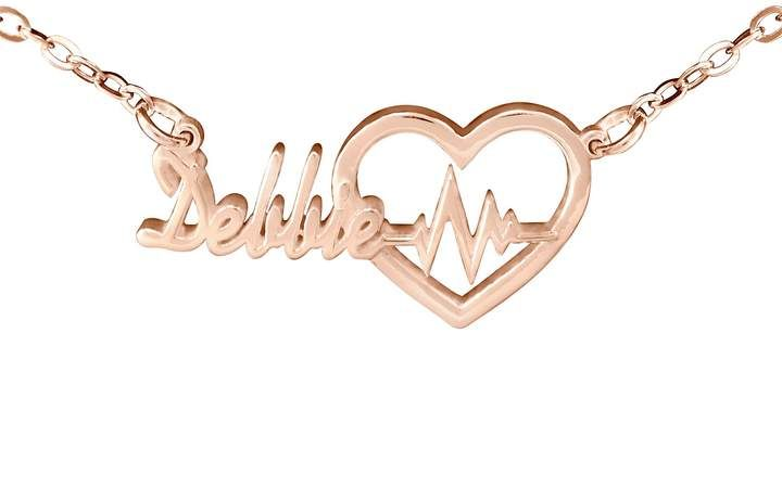 14k Rose Gold Plated Personalized Heartbeat Nam E Necklace Qvc Com Rose Gold Plates Gold Plated Necklace Gold