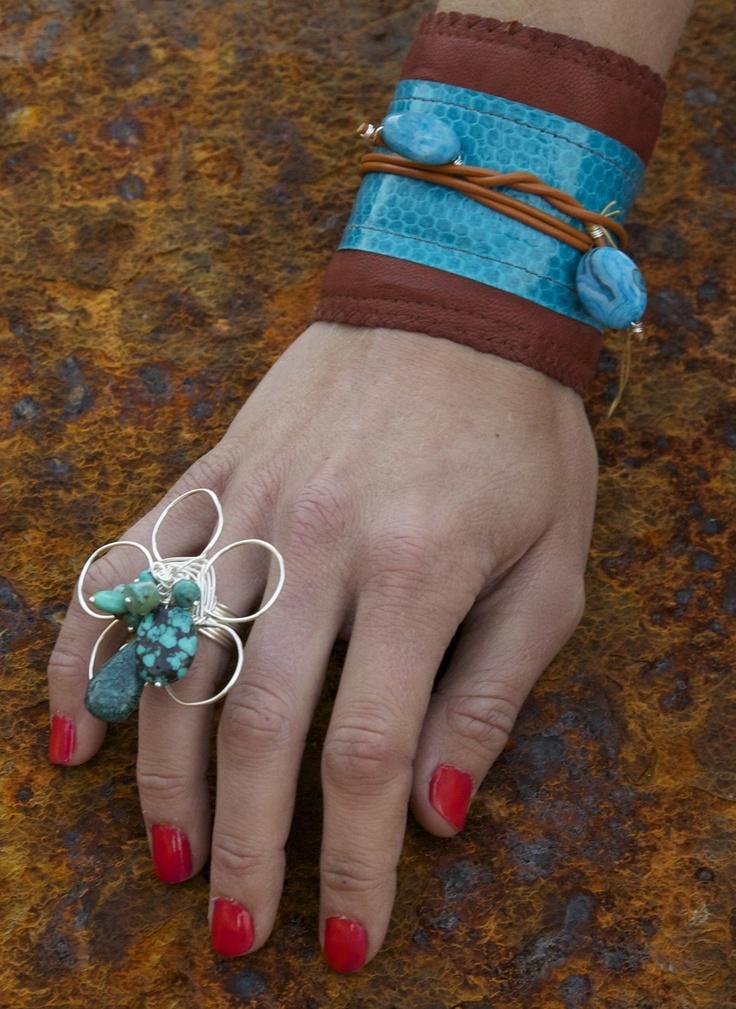 Feroza Snake Cuff by Minsstyle Approved Designer, Amaloa Fashion Jewelry. $125.00: Flowers Bouquets, Bouquets Rings, Feroza Flowers, Fashion Jewelry, Feroza Snakes, Exotic Handmade, Flowers Rings, Amaloa Fashion, Handmade Jewelry