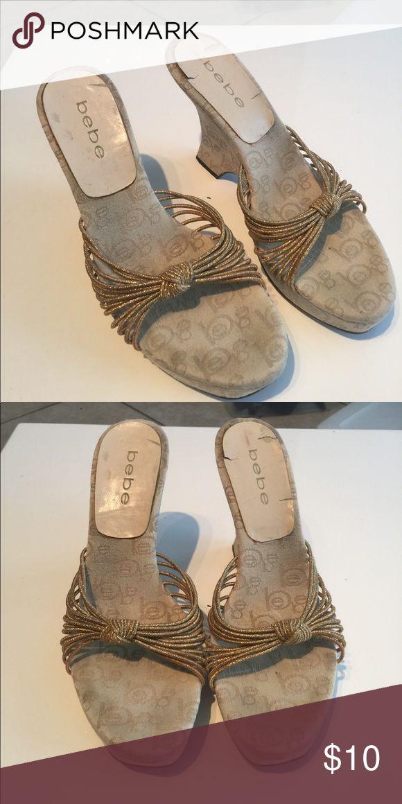 Bebe gold wedge Heels bebe Shoes Wedges