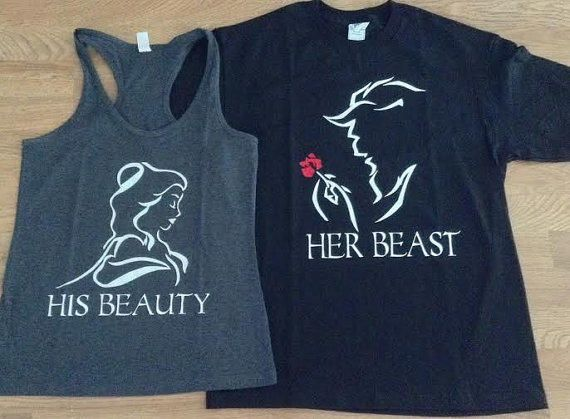 Free/Fast Shipping for US His Beauty and Her Beast Couples Shirts. Blk and Charcoal Gray(white decal)