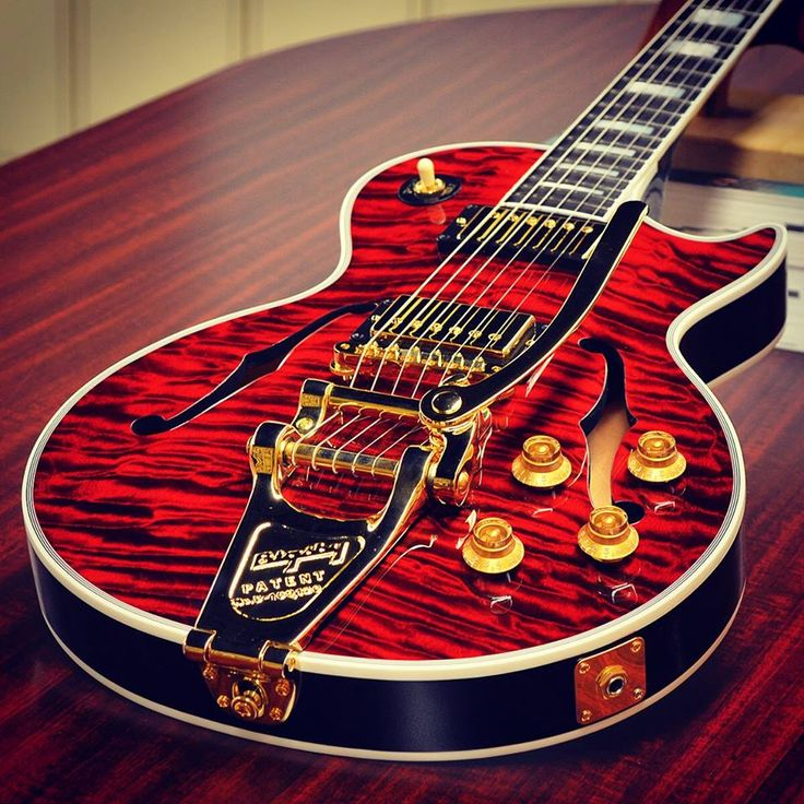 #Gibson Les Paul Florentine Quilt in Fire Tiger with Bigsby.